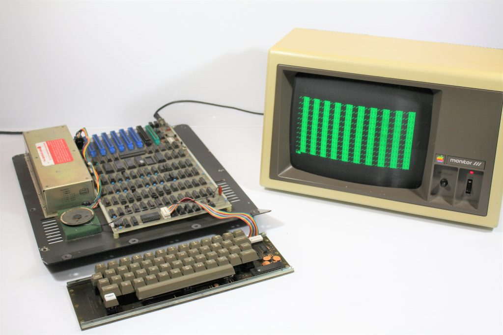 Apple II Rev 3 Non solder mask board running at the Monitor prompt.